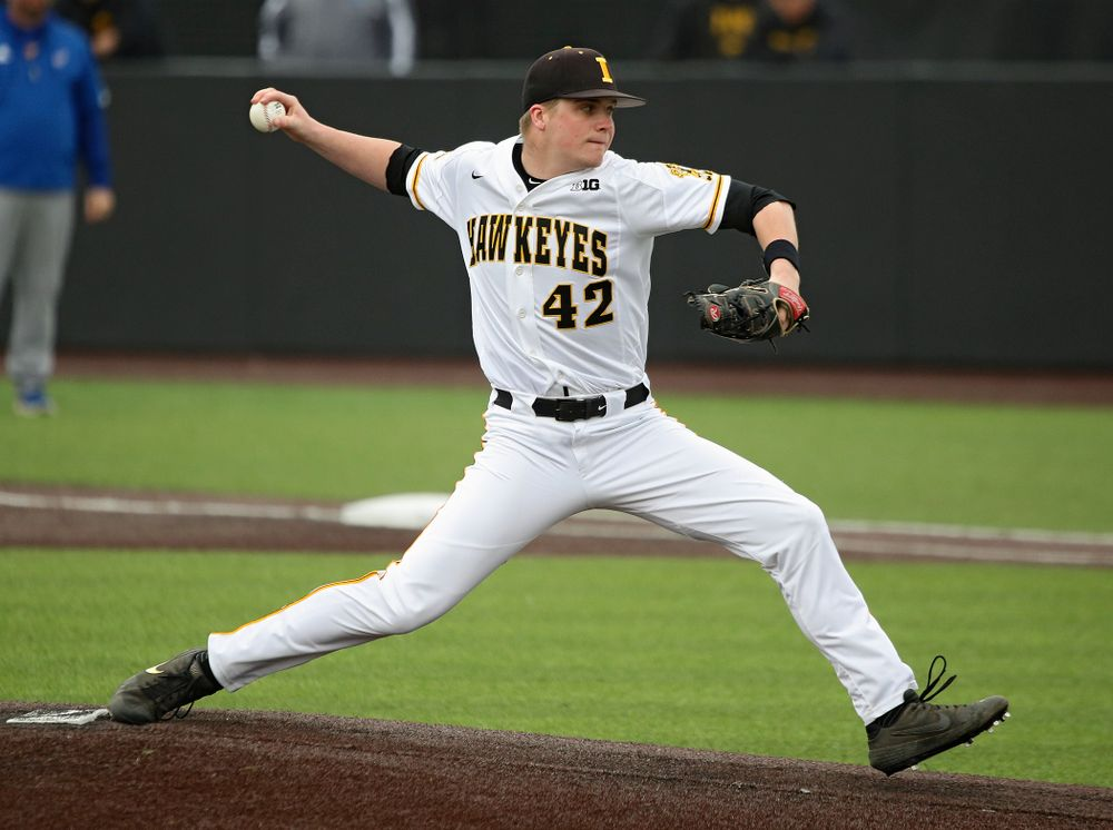 Iowa pitcher Trace Hoffman (42) delivers to the plate during the sixth inning of their college baseball game at Duane Banks Field in Iowa City on Wednesday, March 11, 2020. (Stephen Mally/hawkeyesports.com)