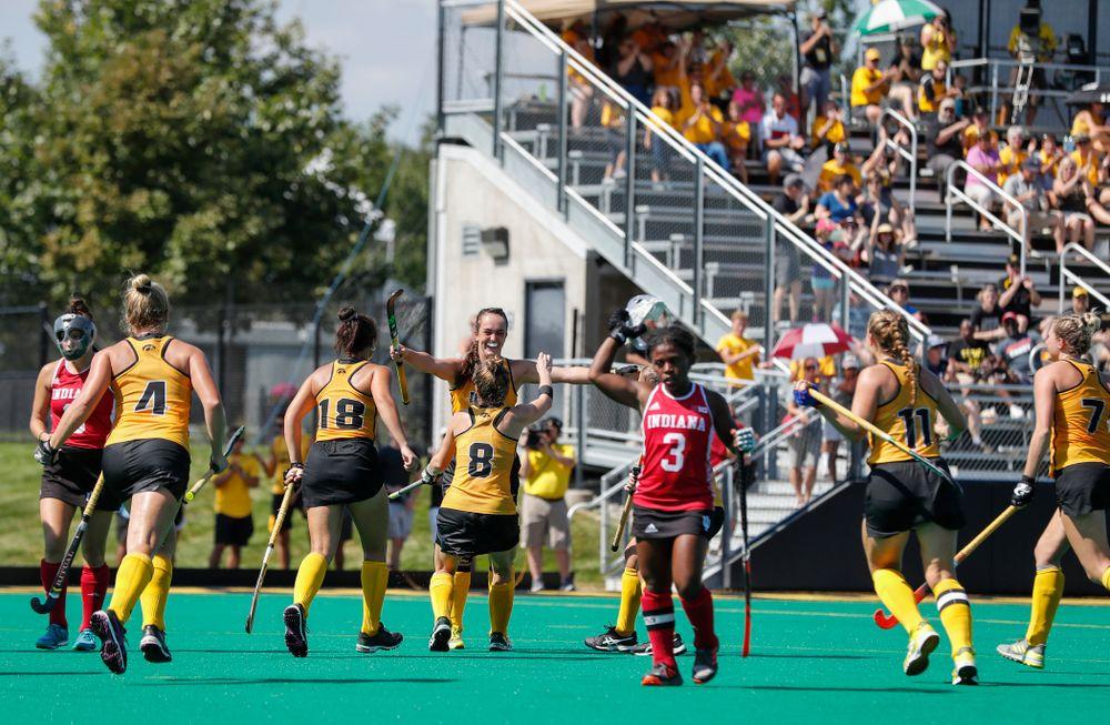 Iowa Hawkeyes Anthe Nijziel (6) scores against Indiana Sunday, September 16, 2018 at Grant Field. (Brian Ray/hawkeyesports.com)