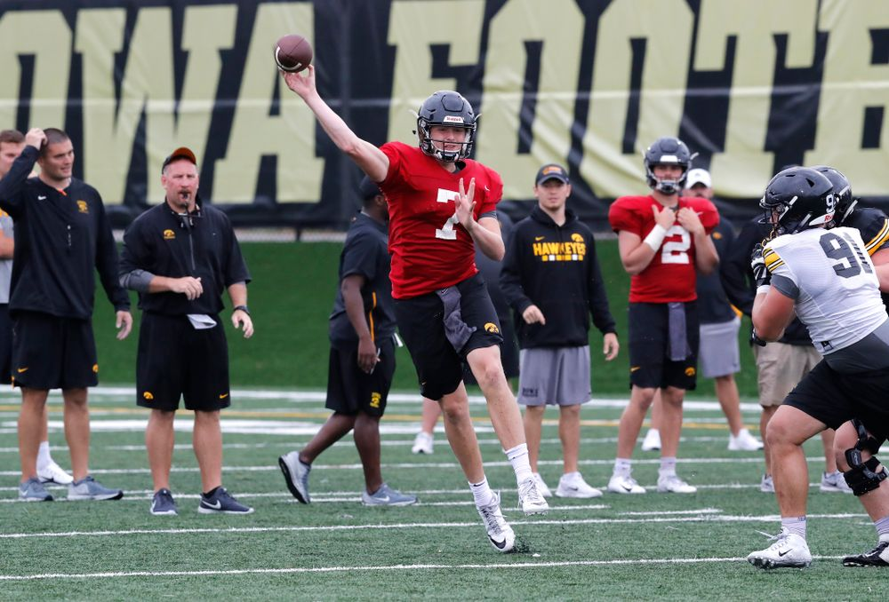 Iowa Hawkeyes quarterback Spencer Petras (7) during camp practice No. 15  Monday, August 20, 2018 at the Hansen Football Performance Center. (Brian Ray/hawkeyesports.com)