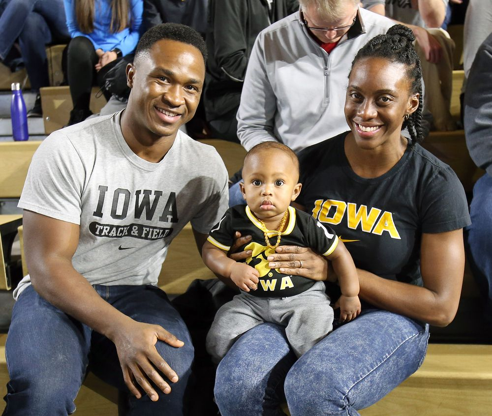 The Sayons are checking out the track & field meet  (Darren Miller/hawkeyesports.com)