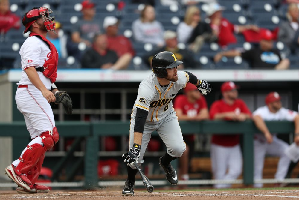 Iowa Hawkeyes outfielder Justin Jenkins (6) against the Indiana Hoosiers in the first round of the Big Ten Baseball Tournament Wednesday, May 22, 2019 at TD Ameritrade Park in Omaha, Neb. (Brian Ray/hawkeyesports.com)