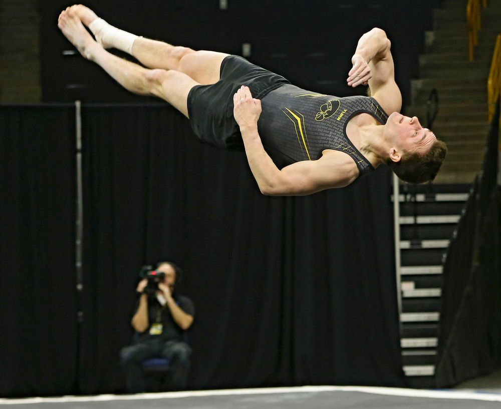 Iowa's Jake Brodarzon competes in the floor against Ohio State at Caver-Hawkeye Arena in Iowa City on Saturday, Mar. 16, 2019. (Stephen Mally for HawkeyeSports.com)