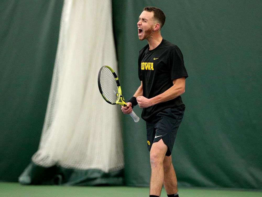 Iowa's Kareem Allaf celebrates after wining his singles match at the Hawkeye Tennis and Recreation Complex in Iowa City on Friday, February 14, 2020. (Stephen Mally/hawkeyesports.com)