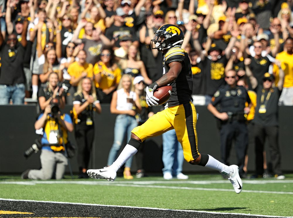 Iowa Hawkeyes wide receiver Ihmir Smith-Marsette (6) on a 58-yard touchdown reception during the first quarter of their Big Ten Conference football game at Kinnick Stadium in Iowa City on Saturday, Sep 7, 2019. (Stephen Mally/hawkeyesports.com)