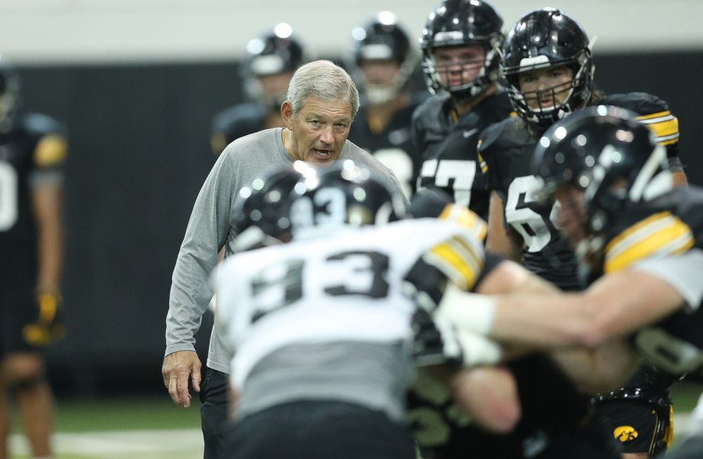 Iowa Hawkeyes head coach Kirk Ferentz during Fall Camp Practice No. 16 Tuesday, August 20, 2019 at the Ronald D. and Margaret L. Kenyon Football Practice Facility. (Brian Ray/hawkeyesports.com)