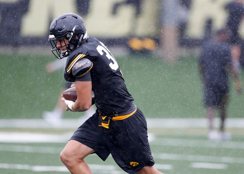 Iowa Hawkeyes tight end T.J. Hockenson (38) during camp practice No. 15  Monday, August 20, 2018 at the Hansen Football Performance Center. (Brian Ray/hawkeyesports.com)