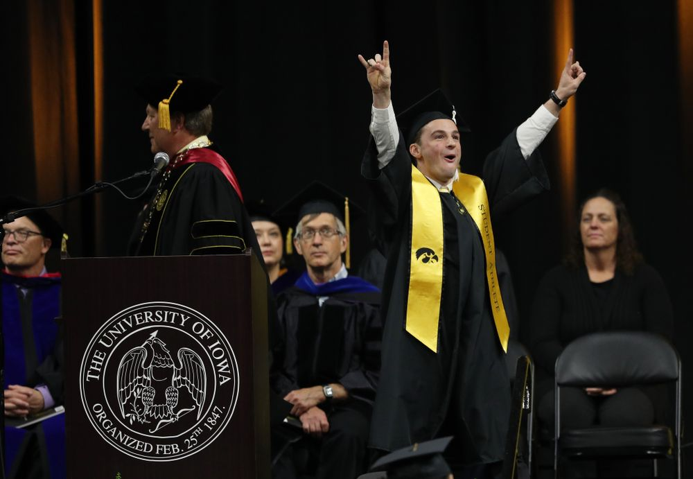 Iowa MenÕs Gymnast Jake Brodarzon during the College of Liberal Arts and Sciences spring commencement Saturday, May 11, 2019 at Carver-Hawkeye Arena. (Brian Ray/hawkeyesports.com)