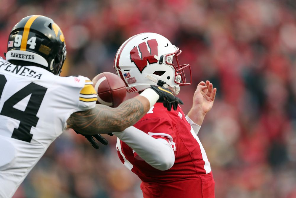 Iowa Hawkeyes defensive end A.J. Epenesa (94) against the Wisconsin Badgers Saturday, November 9, 2019 at Camp Randall Stadium in Madison, Wisc. (Brian Ray/hawkeyesports.com)