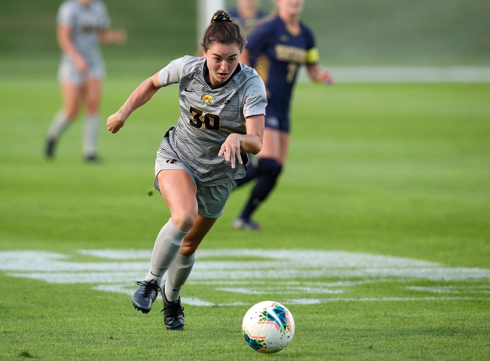 Iowa forward Devin Burns (30) moves with the ball during the first half of their match at the Iowa Soccer Complex in Iowa City on Friday, Sep 13, 2019. (Stephen Mally/hawkeyesports.com)