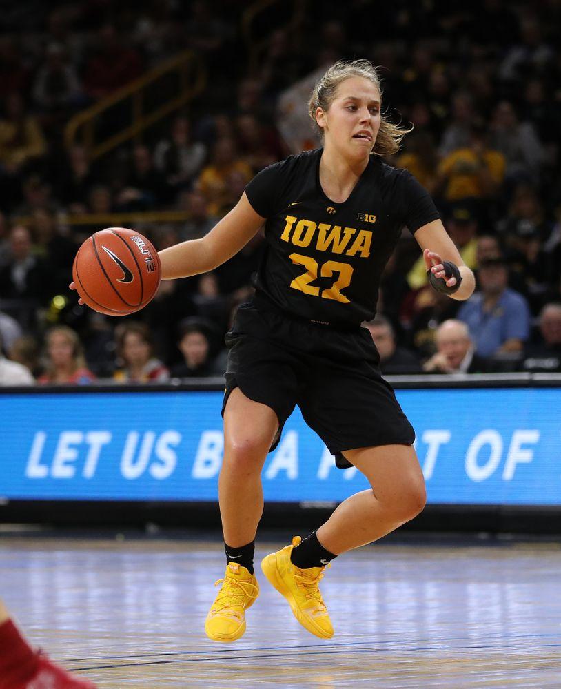 Iowa Hawkeyes guard Kathleen Doyle (22) against the Iowa State Cyclones in the Iowa Corn Cy-Hawk Series Wednesday, December 5, 2018 at Carver-Hawkeye Arena. (Brian Ray/hawkeyesports.com)
