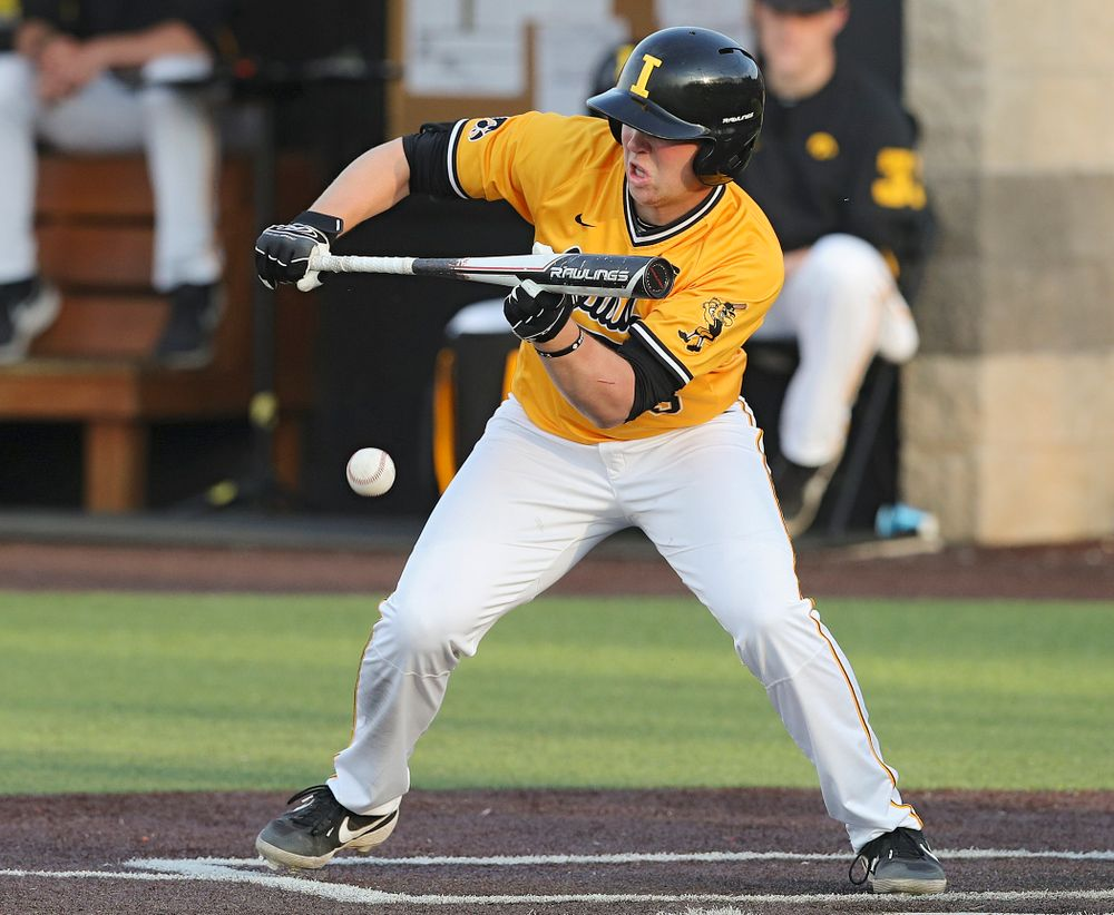 Iowa Hawkeyes Zeb Adreon (5) gets a bunt single during the seventh inning of their game against Northern Illinois at Duane Banks Field in Iowa City on Tuesday, Apr. 16, 2019. (Stephen Mally/hawkeyesports.com)