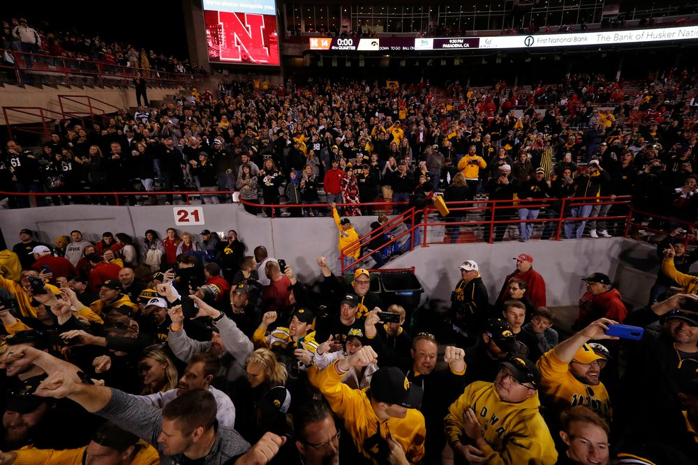 Fans cheer on the Iowa Hawkeyes