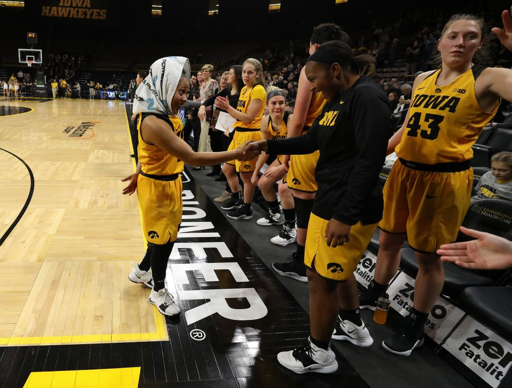 Iowa Hawkeyes guard Tania Davis (11) and guard Zion Sanders (24)against the Michigan State Spartans Thursday, February 7, 2019 at Carver-Hawkeye Arena. (Brian Ray/hawkeyesports.com)