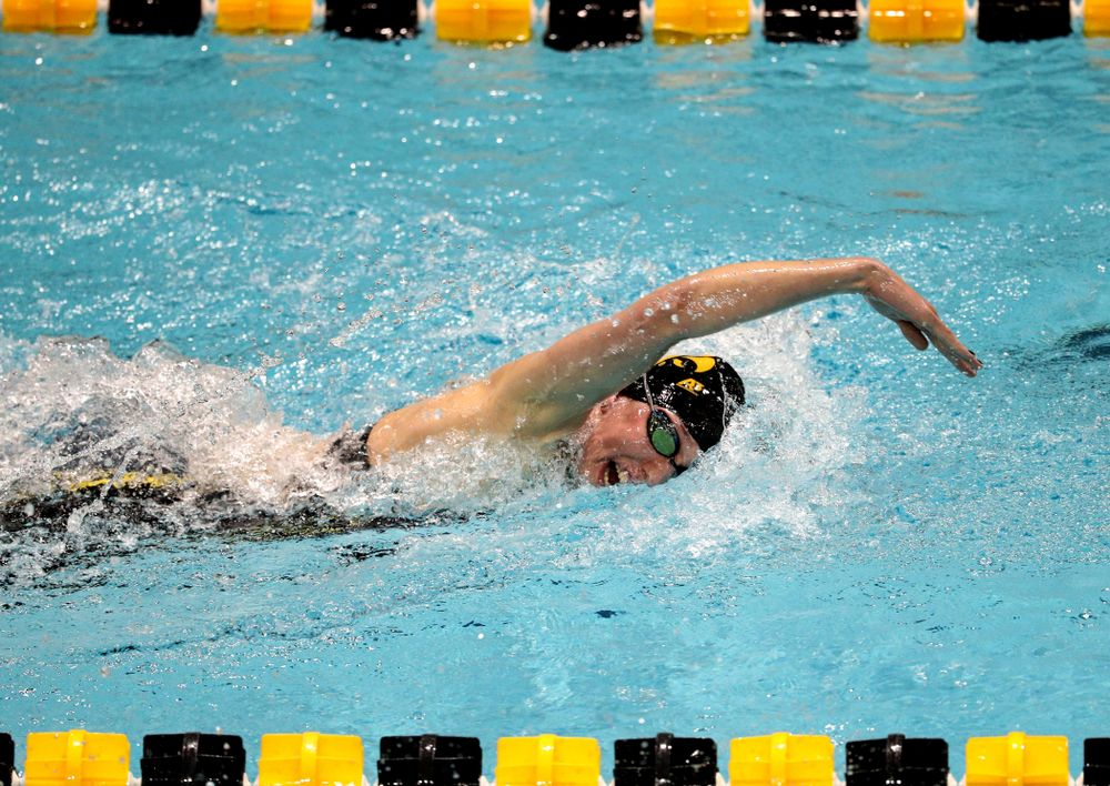 Iowa's Allyssa Fluit swims the 100-yard freestyle against the Iowa State Cyclones in the Iowa Corn Cy-Hawk Series Friday, December 7, 2018 at at the Campus Recreation and Wellness Center. (Brian Ray/hawkeyesports.com)