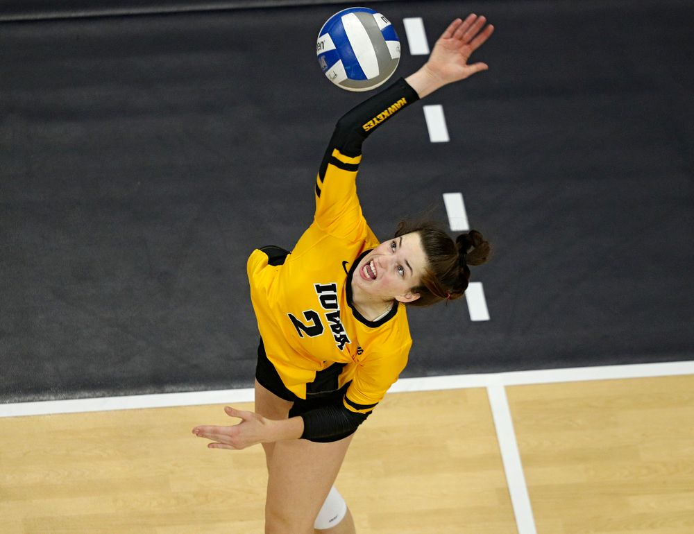 Iowa's Courtney Buzzerio (2) lines up a shot during the fourth set of their match at Carver-Hawkeye Arena in Iowa City on Friday, Nov 29, 2019. (Stephen Mally/hawkeyesports.com)