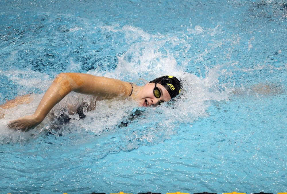 IowaÕs Maddie Ziegert swims the 100 yard freestyle against the Michigan Wolverines Friday, November 1, 2019 at the Campus Recreation and Wellness Center. (Brian Ray/hawkeyesports.com)
