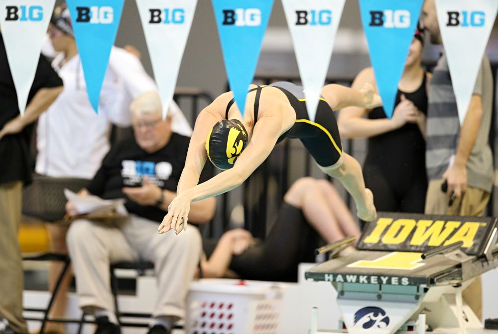 Iowa's Macy Rink swims the women's 500 yard freestyle preliminary event during the 2020 Women's Big Ten Swimming and Diving Championships at the Campus Recreation and Wellness Center in Iowa City on Thursday, February 20, 2020. (Stephen Mally/hawkeyesports.com)