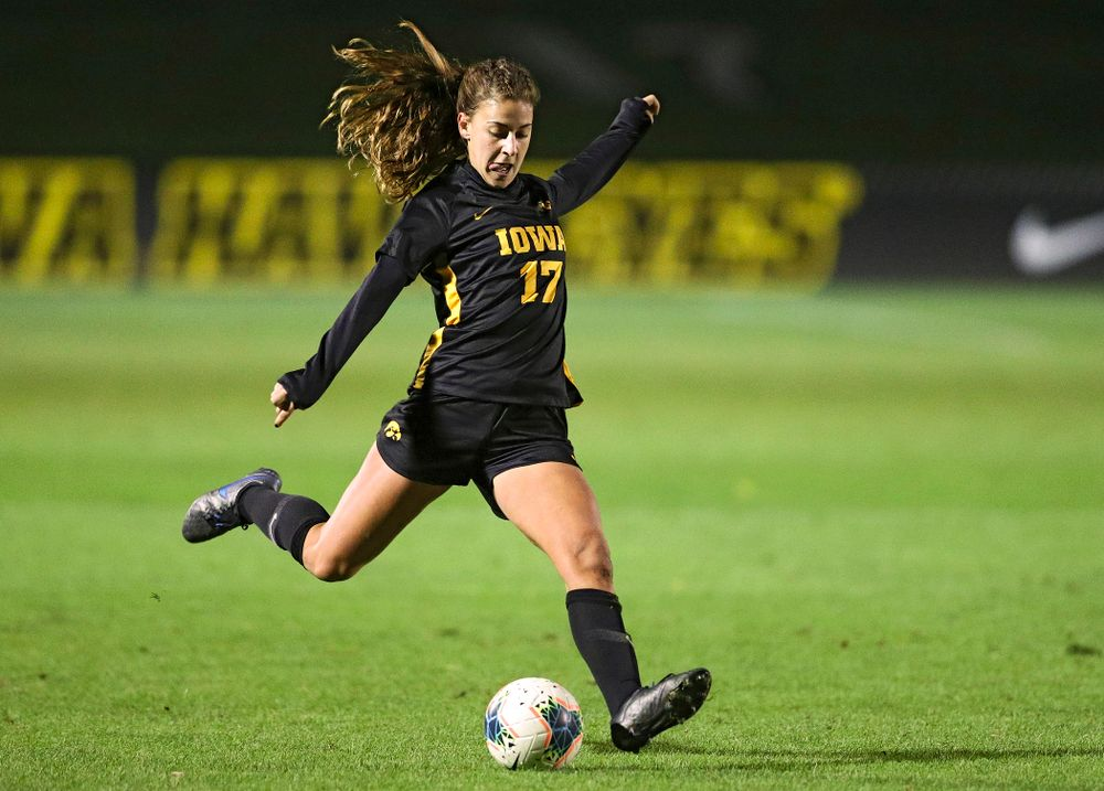 Iowa defender Hannah Drkulec (17) lines up a shot during the first half of their match at the Iowa Soccer Complex in Iowa City on Friday, Oct 11, 2019. (Stephen Mally/hawkeyesports.com)
