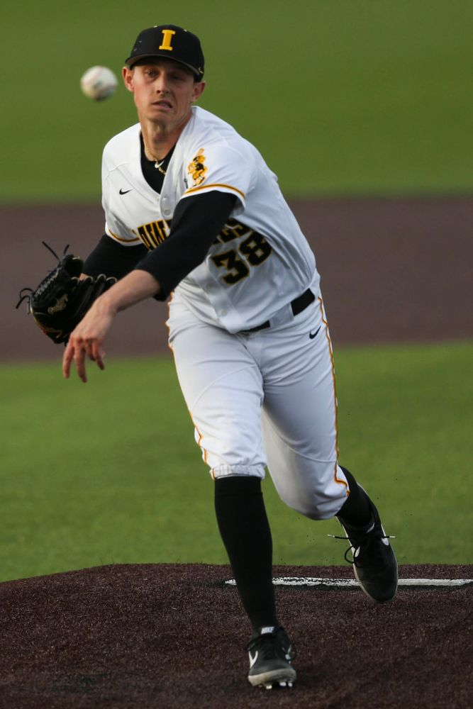 Iowa pitcher Trenton Wallace  at baseball vs Milwaukee on Tuesday, April 23, 2019 at Duane Banks Field. (Lily Smith/hawkeyesports.com)