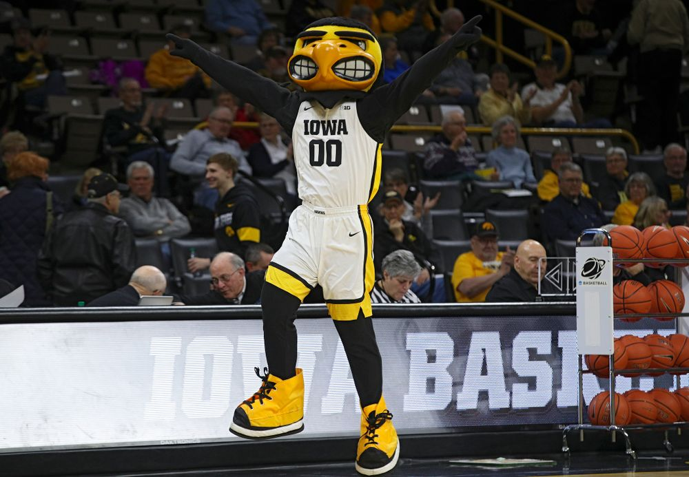 Herky takes the court before the game at Carver-Hawkeye Arena in Iowa City on Thursday, February 6, 2020. (Stephen Mally/hawkeyesports.com)