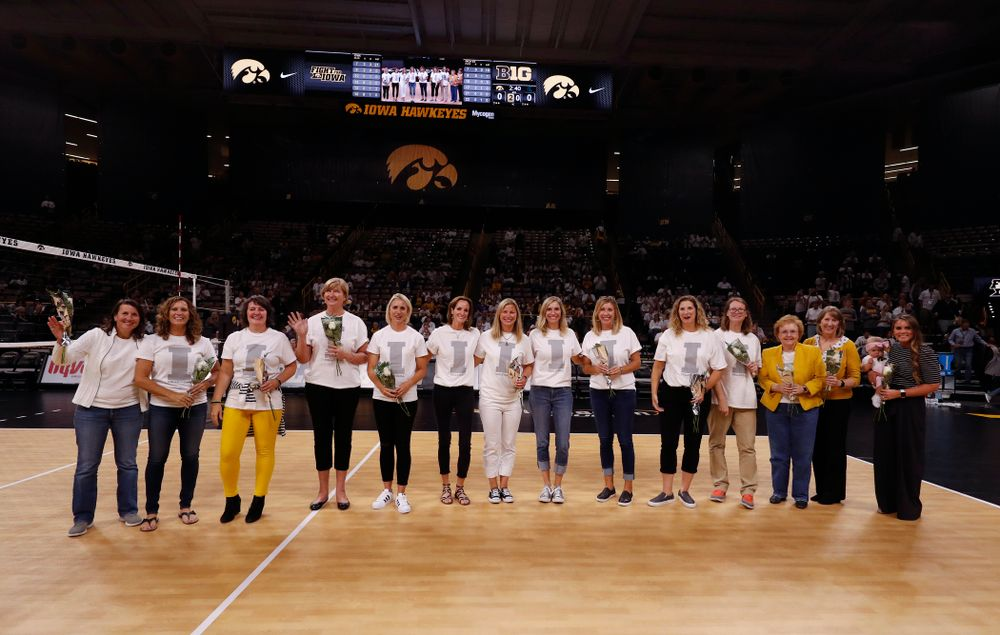 Former Hawkeye Volleyball players against the Michigan State Spartans Friday, September 21, 2018 at Carver-Hawkeye Arena. (Brian Ray/hawkeyesports.com)