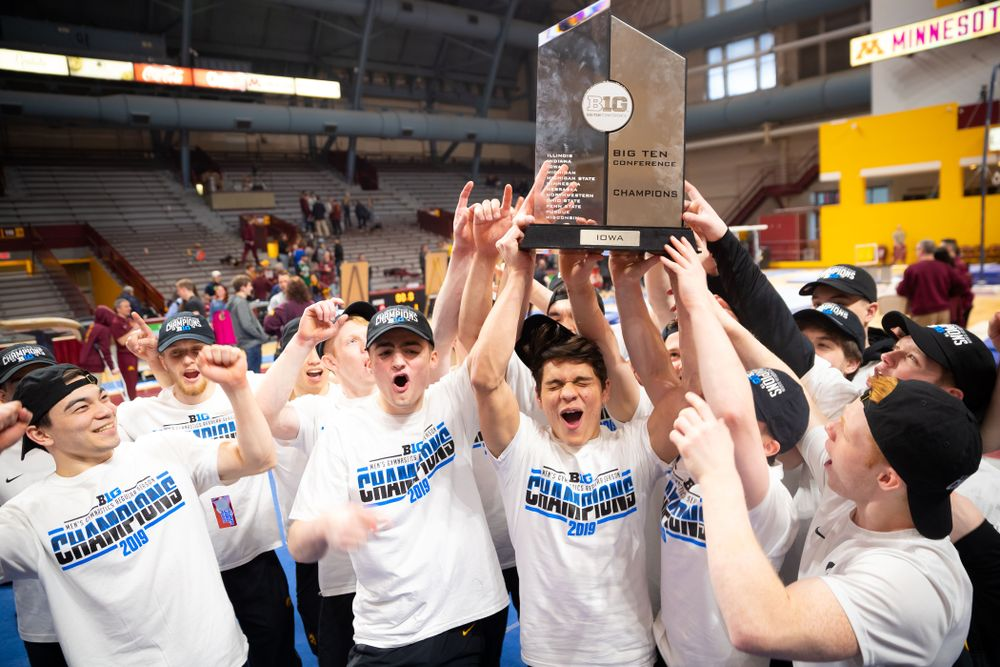 The Iowa Hawkeys competes against Minnesota and Penn State at the Maturi Pavilion Saturday, March 23, 2019 in Minneapolis, Minn. (C. Morgan Engel/Freelance)