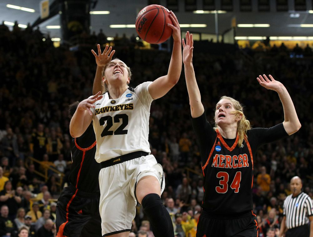 Iowa Hawkeyes guard Kathleen Doyle (22) makes a basket during the first round of the 2019 NCAA Women's Basketball Tournament at Carver Hawkeye Arena in Iowa City on Friday, Mar. 22, 2019. (Stephen Mally for hawkeyesports.com)