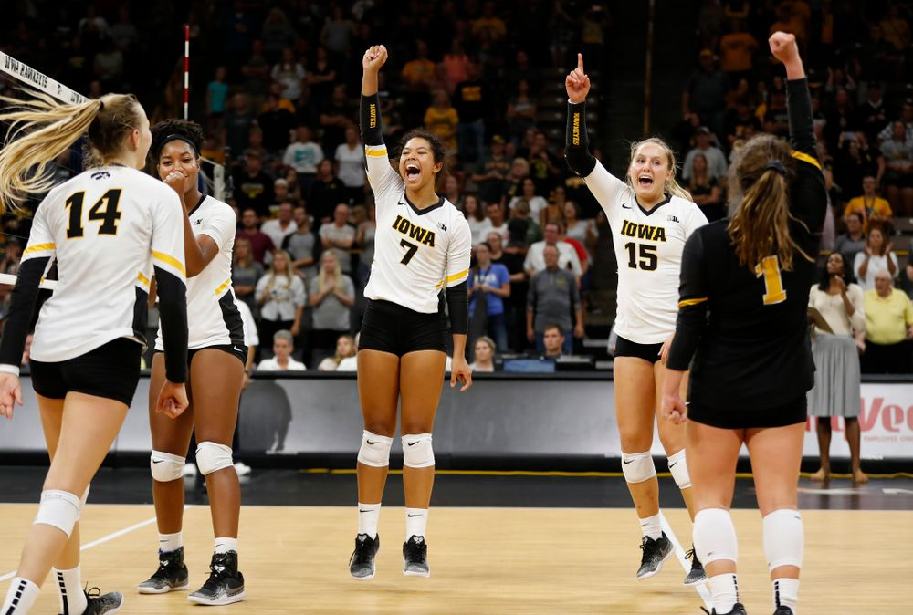 Iowa Hawkeyes setter Gabrielle Orr (7) and defensive specialist Maddie Slagle (15) against Eastern Illinois Sunday, September 9, 2018 at Carver-Hawkeye Arena. (Brian Ray/hawkeyesports.com)