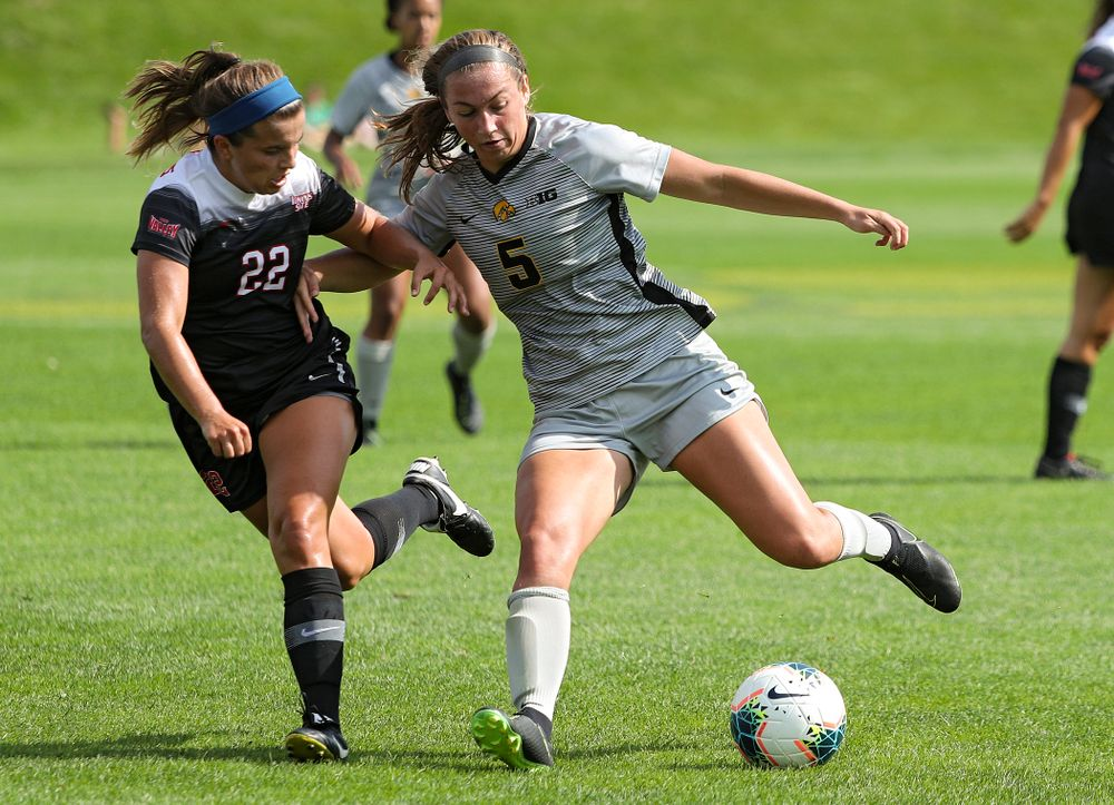 Iowa defender Riley Whitaker (5) moves with the ball during the first half of their match at the Iowa Soccer Complex in Iowa City on Sunday, Sep 1, 2019. (Stephen Mally/hawkeyesports.com)