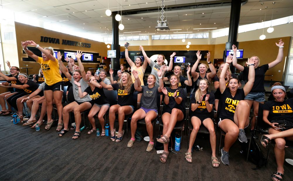 The Iowa Hawkeyes celebrate after receiving an at large bid to the 2018 NCAA Rowing Championships Tuesday, May 15, 2018 at Carver-Hawkeye Arena. The 22 team field will compete May 25-27 in Sarasota, Florida. (Brian Ray/hawkeyesports.com)