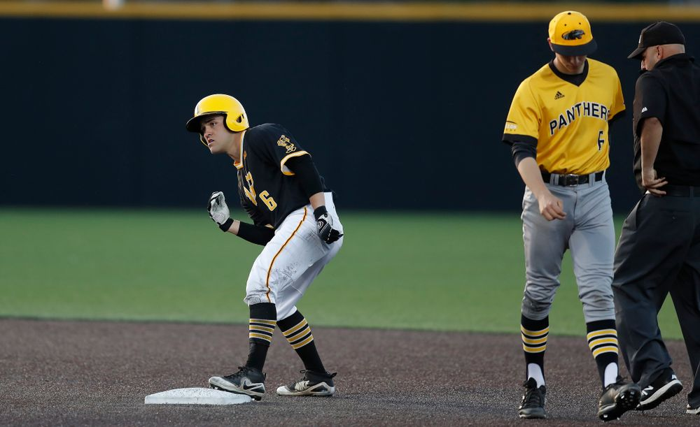 Iowa Hawkeyes outfielder Justin Jenkins (6) against Milwaukee Wednesday, April 25, 2018 at Duane Banks Field. (Brian Ray/hawkeyesports.com)