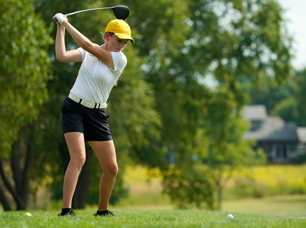 Iowa's Jacquelyn Galloway tees off during their dual against Northern Iowa at Pheasant Ridge Golf Course in Cedar Falls on Monday, Sep 2, 2019. (Stephen Mally/hawkeyesports.com)