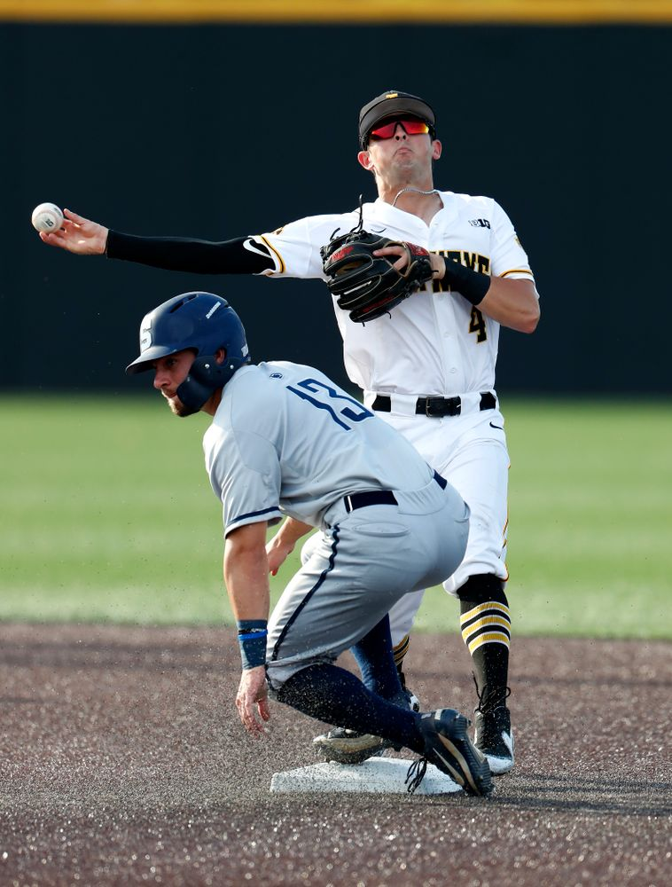 Iowa Hawkeyes infielder Mitchell Boe (4) against the Penn State Nittany Lions  Thursday, May 17, 2018 at Duane Banks Field. (Brian Ray/hawkeyesports.com)