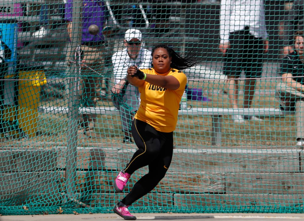 Iowa's Laulauga Tausaga competes in the hammer throw during the 2018 MUSCO Twilight Invitational  Thursday, April 12, 2018 at the Cretzmeyer Track. (Brian Ray/hawkeyesports.com)