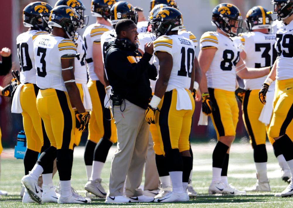 Iowa Hawkeyes running back Mekhi Sargent (10) and running backs coach Derrick Foster against the Indiana Hoosiers Saturday, October 13, 2018 at Memorial Stadium, in Bloomington, Ind. (Brian Ray/hawkeyesports.com)
