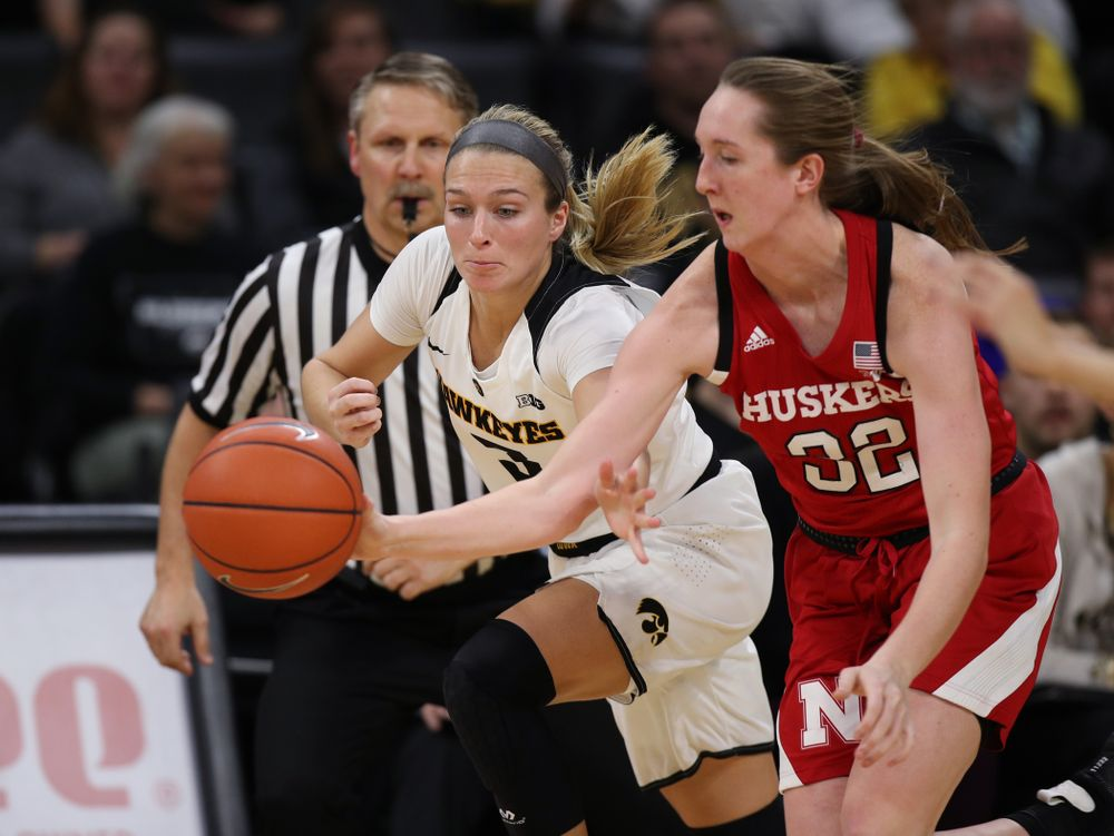 Iowa Hawkeyes guard Makenzie Meyer (3) against the Nebraska Cornhuskers Thursday, January 3, 2019 at Carver-Hawkeye Arena. (Brian Ray/hawkeyesports.com)