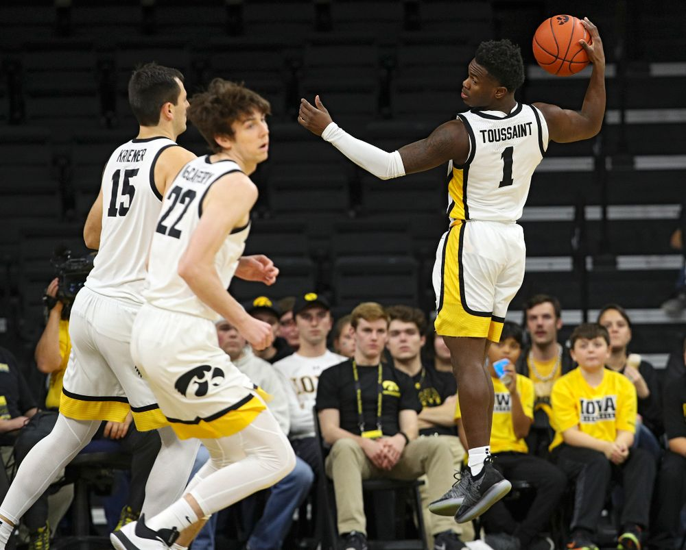 Iowa Hawkeyes guard Joe Toussaint (1) pulls in a rebound during the second half of their exhibition game against Lindsey Wilson College at Carver-Hawkeye Arena in Iowa City on Monday, Nov 4, 2019. (Stephen Mally/hawkeyesports.com)