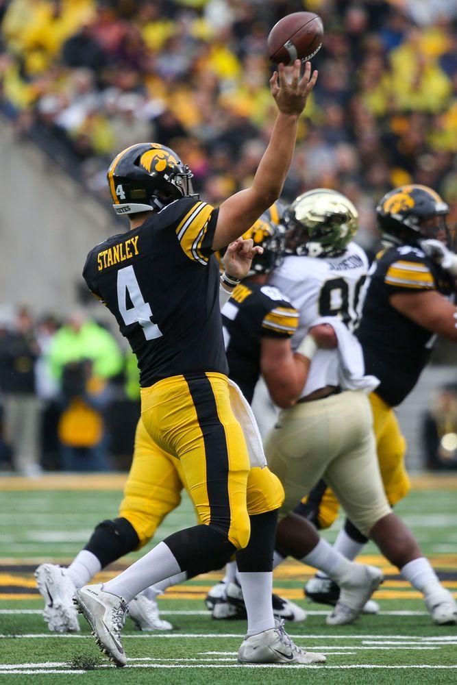 Iowa Hawkeyes quarterback Nate Stanley (4) during Iowa football vs Purdue on Saturday, October 19, 2019 at Kinnick Stadium. (Lily Smith/hawkeyesports.com)
