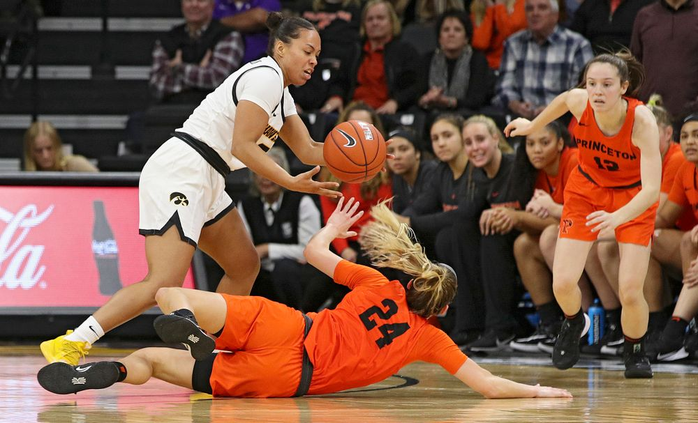 Iowa guard Alexis Sevillian (5) steals the ball away during overtime in their win against Princeton at Carver-Hawkeye Arena in Iowa City on Wednesday, Nov 20, 2019. (Stephen Mally/hawkeyesports.com)