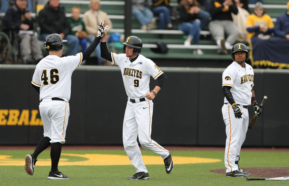 IoIowa Hawkeyes outfielder Ben Norman (9) against Michigan State Sunday, May 12, 2019 at Duane Banks Field. (Brian Ray/hawkeyesports.com)