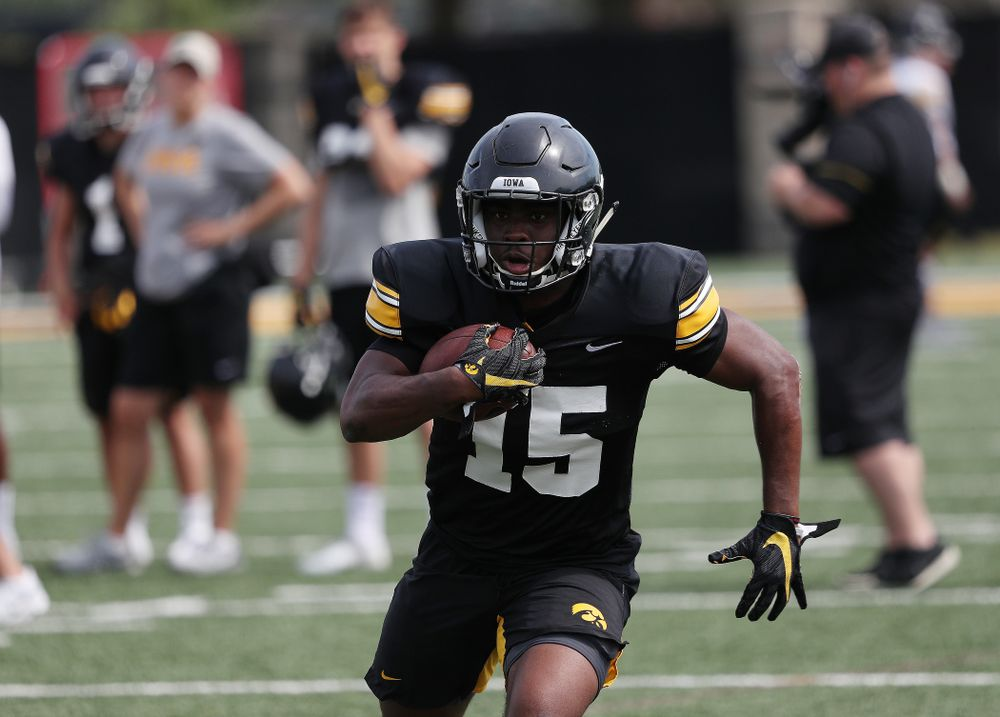Iowa Hawkeyes running back Tyler Goodson (15) during Fall Camp Practice No. 4 Monday, August 5, 2019 at the Ronald D. and Margaret L. Kenyon Football Practice Facility. (Brian Ray/hawkeyesports.com)