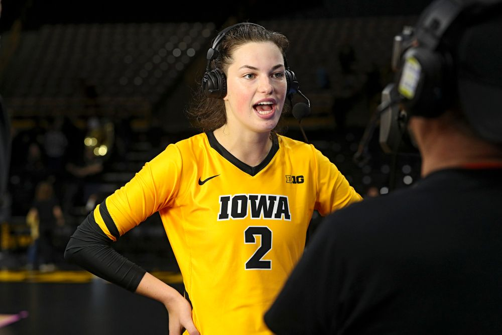 Iowa's Courtney Buzzerio (2) answers question on BTN after winning their match at Carver-Hawkeye Arena in Iowa City on Sunday, Oct 20, 2019. (Stephen Mally/hawkeyesports.com)