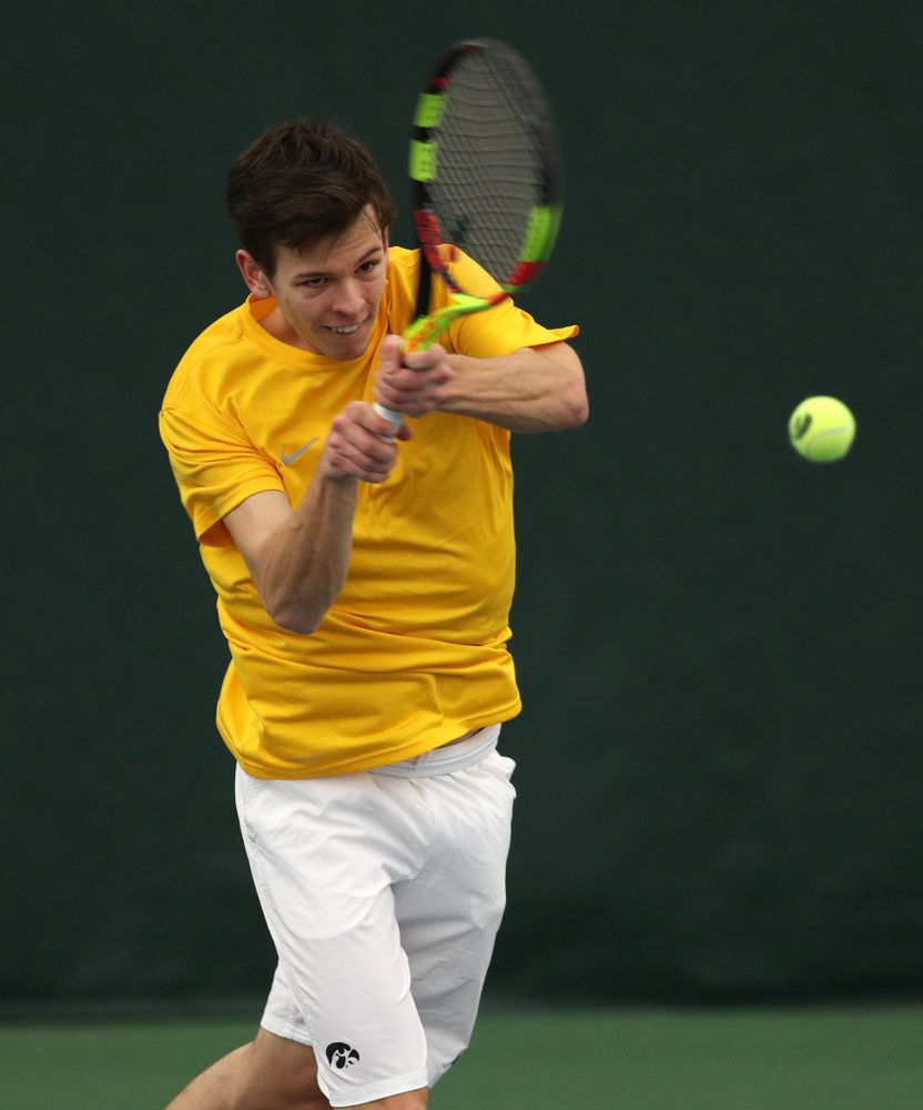 Pitor Smietana against Utah Sunday, February 10, 2019 at the Hawkeye Tennis and Recreation Complex. (Brian Ray/hawkeyesports.com)