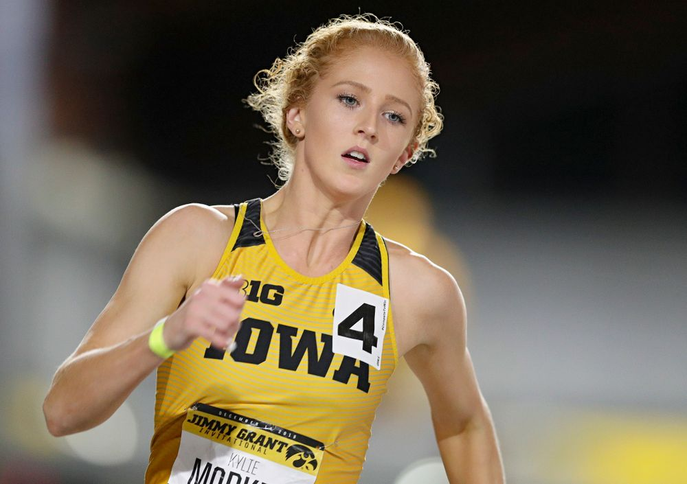 Iowa's Kylie Morken runs the women's 300 meter dash event during the Jimmy Grant Invitational at the Recreation Building in Iowa City on Saturday, December 14, 2019. (Stephen Mally/hawkeyesports.com)