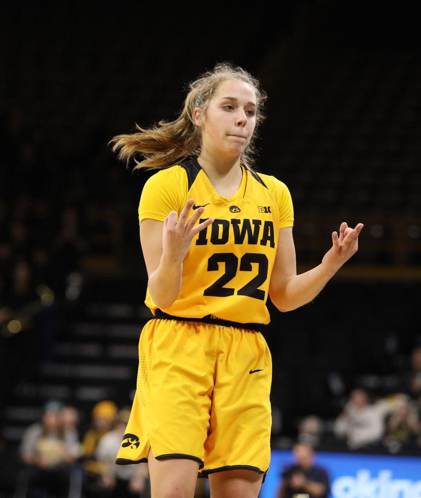 Iowa Hawkeyes guard Kathleen Doyle (22) against the Michigan State Spartans Thursday, February 7, 2019 at Carver-Hawkeye Arena. (Brian Ray/hawkeyesports.com)