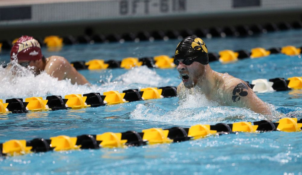 Iowa's Tanner Nelson competes in the 200-yard breaststroke during a meet against Michigan and Denver at the Campus Recreation and Wellness Center on November 3, 2018. (Tork Mason/hawkeyesports.com)