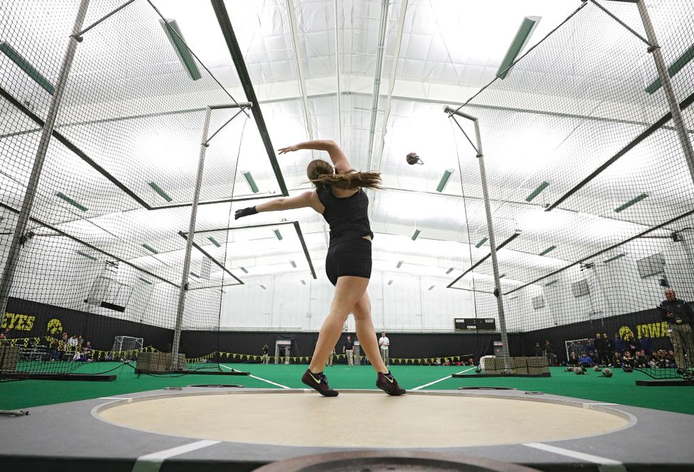 Iowa's Amanda Howe throws in the women's weight throw event during the Hawkeye Invitational at the Hawkeye Tennis and Recreation Complex in Iowa City on Friday, January 10, 2020. (Stephen Mally/hawkeyesports.com)