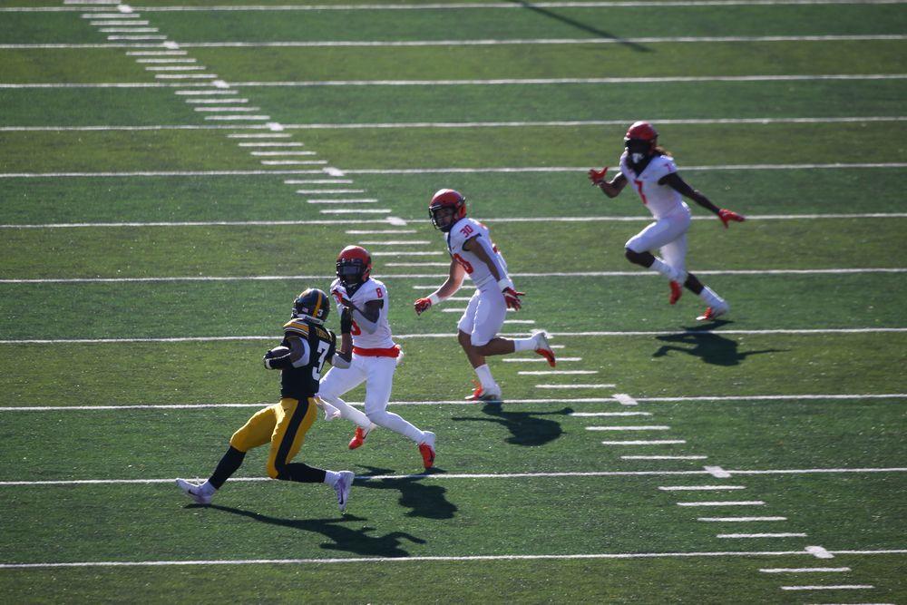 Iowa Hawkeyes wide receiver Tyrone Tracy Jr. (3) during Iowa football vs Illinois on Saturday, November 23, 2019 at Kinnick Stadium. (Lily Smith/hawkeyesports.com)