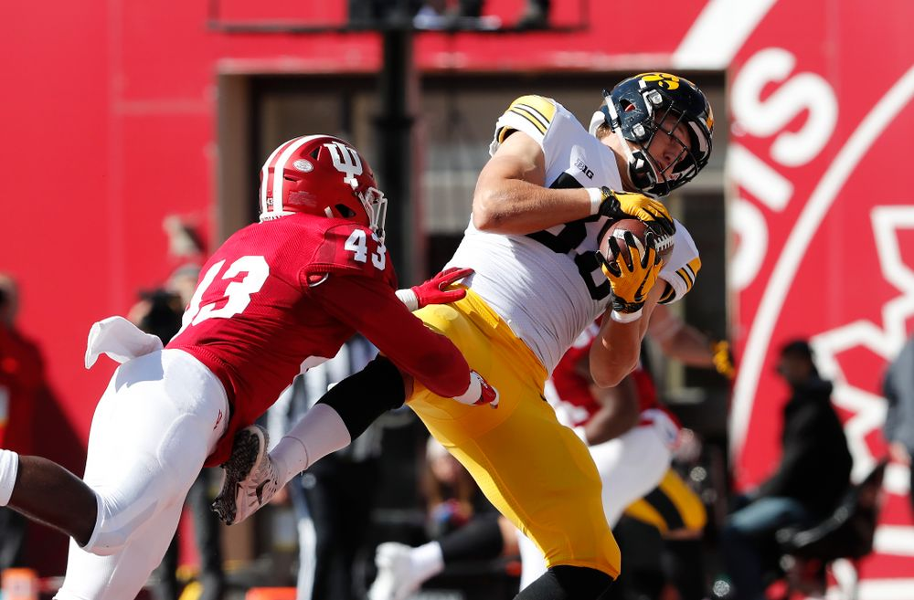 Iowa Hawkeyes tight end T.J. Hockenson (38) catches a touchdown against the Indiana Hoosiers Saturday, October 13, 2018 at Memorial Stadium, in Bloomington, Ind. (Brian Ray/hawkeyesports.com)
