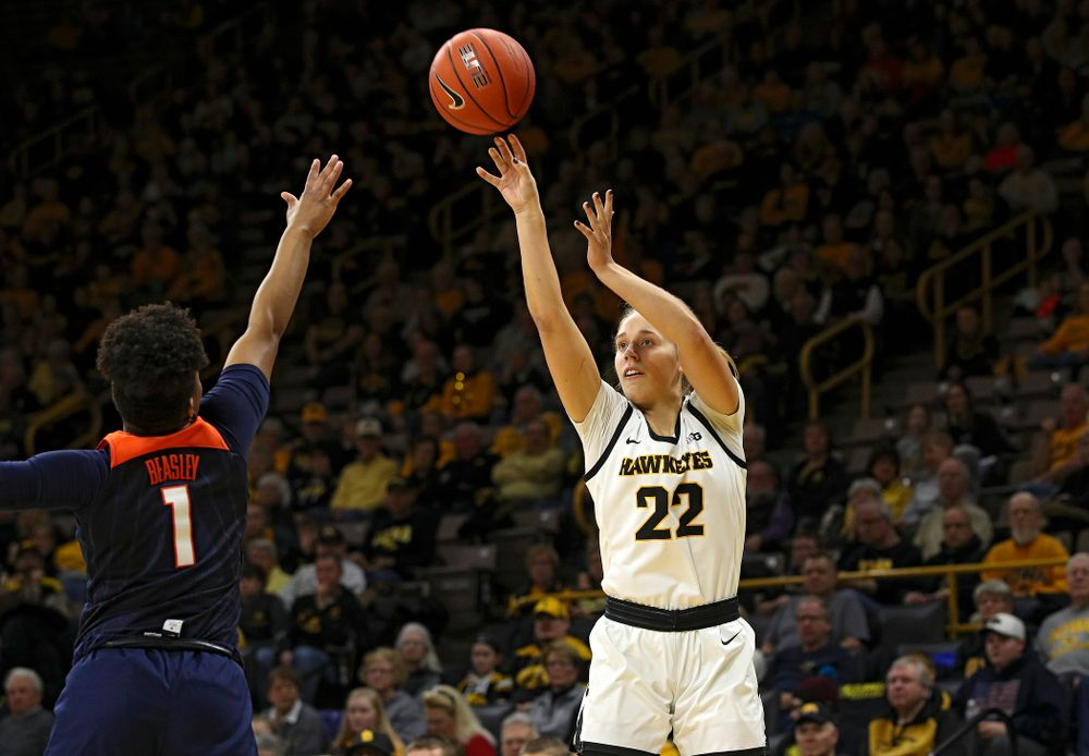 Iowa Hawkeyes guard Kathleen Doyle (22) makes a basket during the first quarter of their game at Carver-Hawkeye Arena in Iowa City on Tuesday, December 31, 2019. (Stephen Mally/hawkeyesports.com)